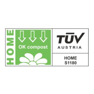 Certificat qui garantit que l'emballage est biodégradable et compostable, même dans le compost domestique. L'emballage prend de 5 à 7 semaines pour se dégrader complètement.