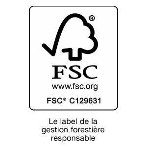 Distinctif qui certifie que le bois utilisé dans la fabrication des produits provient de sources responsables.